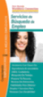 New Mexico Workforce Connection Job Seeker Services brochure cover, Spanish version. Assistance with high school equivalency classes, citizenship classes, job search, résumé writing, interviewing techniques, employability skills, disability services. Photo of woman holding a mug of coffee and smiling as she looks at the newspaper.