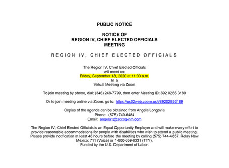 Region IV, Chief Elected Officials Meeting Public Notice