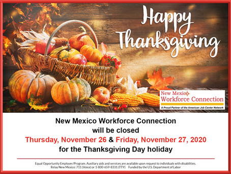 November 26 & 27, 2020 Holiday Closure