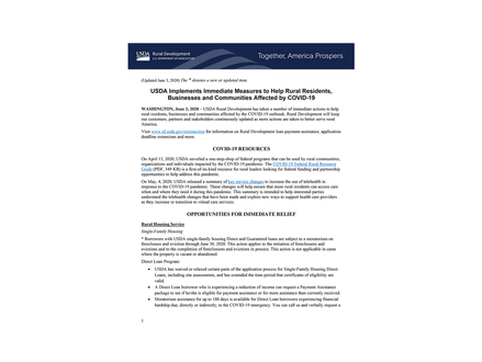 USDA Implements Immediate Measures to Help Rural Residents, Businesses and Communities...