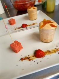 Mousse abricot sorbet fraise maison