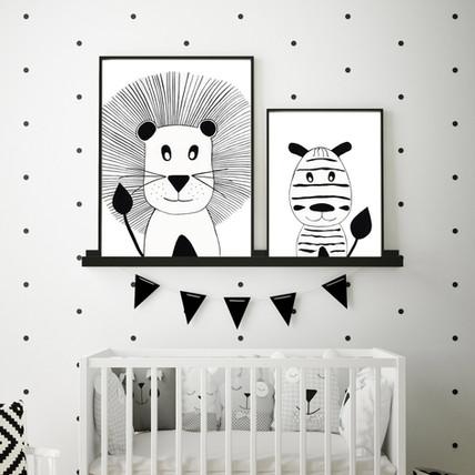 Lion and Zebra - Black and White Nursery Wall Art Set