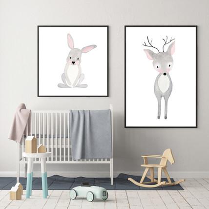 Set of 2 WOODLAND ANIMALS - Watercolor Nursery Prints