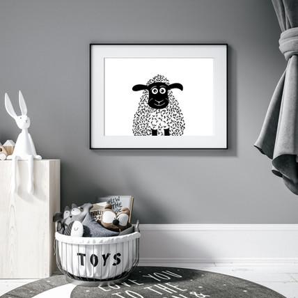 Black and White Sheep Nursery Wall Art