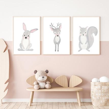 Set of 3 Woodland Animals - Watercolor Nursery Prints