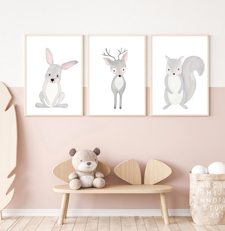 Set of 3 YOUNG FOREST - Watercolor Nurse