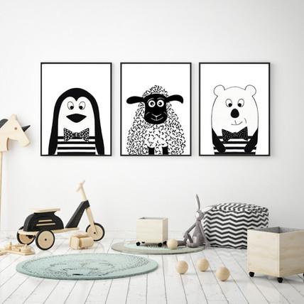Penguin, Sheep and Bear - Black and White Wall Print Set