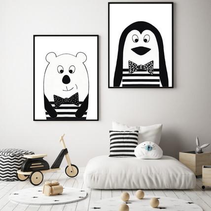 Bear and Penguin Nursery Wall Art Set