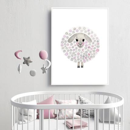 Pink Sheep Nursery Wall Print