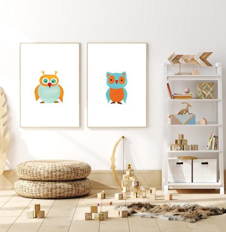 Set of 2 Crazy Birds - Watercolor Nurser