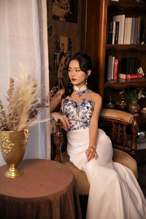 Oriental Blue Florals Cheongsam  Silk Dress