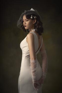Crepe satin wedding dress