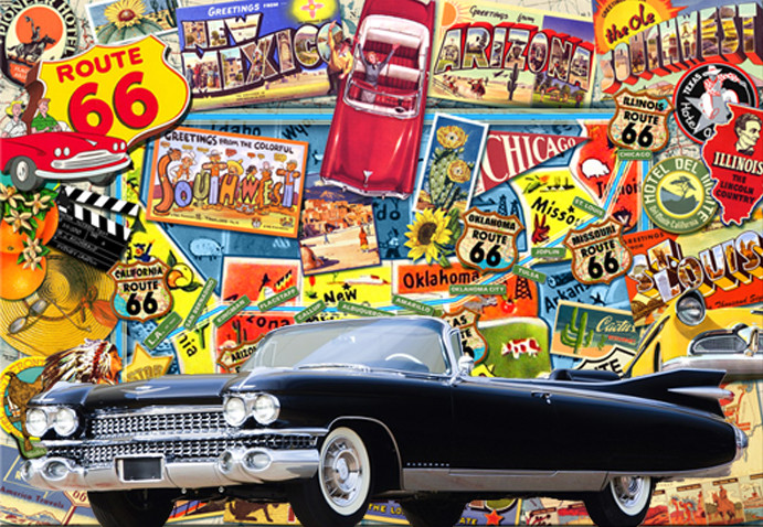 1959 Cadillac Eldorado Biarritz against a backdrop of Route 66 imagery