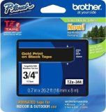 """Brother TZe344 18mm (0.7"""") Gold on Black tape for P-Touch 8m (26.2 ft)"""