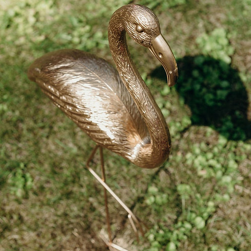 Flamingo mit Standfuß, gold