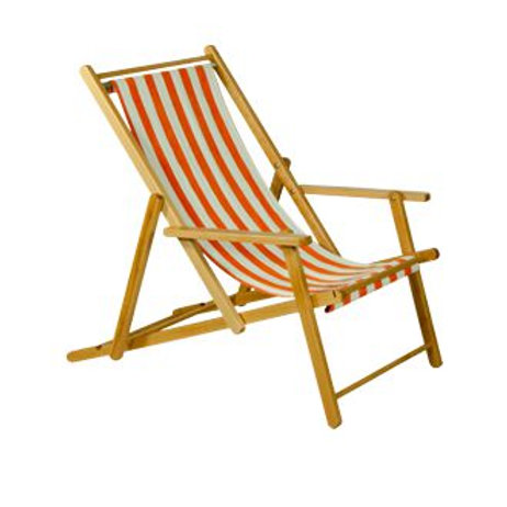 Liegestuhl, orange-weiß