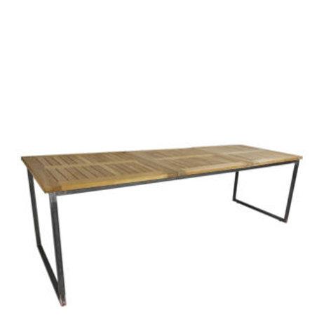 """Sitztisch """"Industry"""", Platte Teak 80x240 cm"""