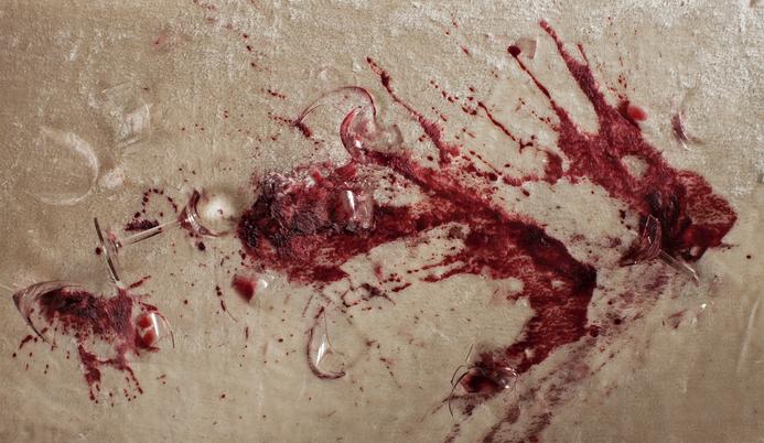 close-up of printed faux fur rug