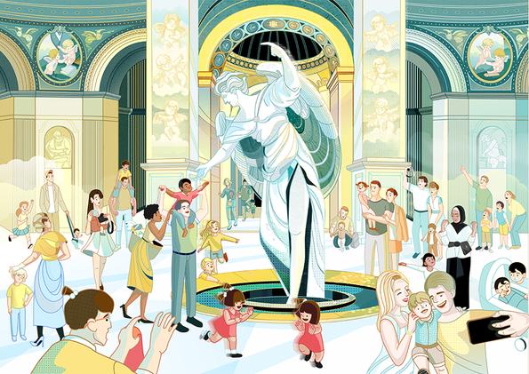Traveling Musuem-Puzzel Illustration