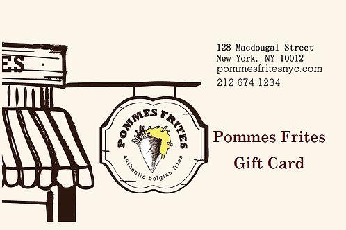 Pommes Frites Gift Card $10