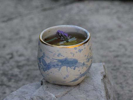Cobalt blue splashed cup.