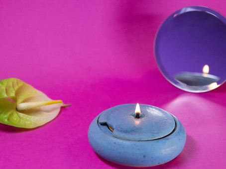 Turquoise oil lamp - modern and sustainable
