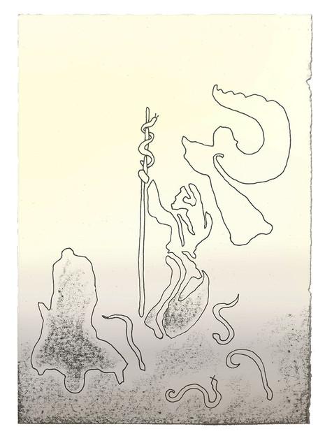 Da sa Herren til ham: «Lag deg en serafslange og sett den på en stang! Alle som blir bitt, skal se opp på den. Da skal de leve.» Moses laget en kobberslange og satte den opp på stangen. Og når noen ble bitt av en slange og så på kobberslangen, fikk han leve. - Fjerde Mosebok Kapittel 21