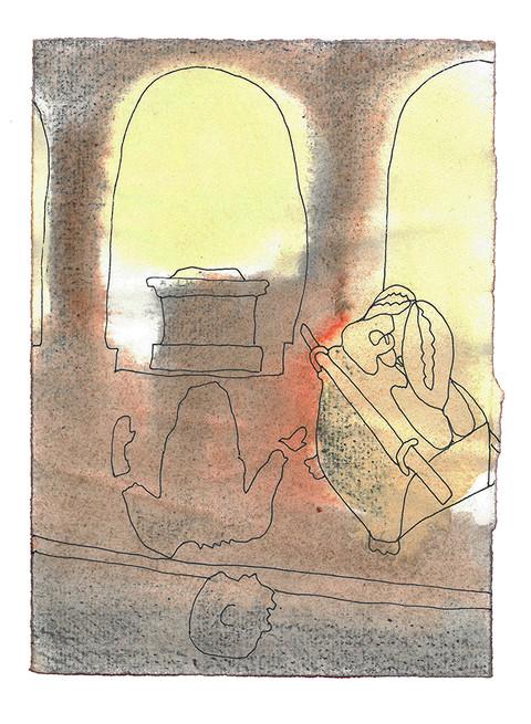 De brakte paktkisten inn i Dagons tempel og stilte den opp ved siden av Dagon. Da folket i Asjdod sto opp tidlig neste morgen, fant de Dagon liggende med ansiktet mot jorden foran Herrens paktkiste. De reiste ham opp og satte ham på plass igjen. Men tidlig morgenen etter lå Dagon igjen med ansiktet mot jorden foran Herrens paktkiste. Hodet og begge hendene hans var slått av mot dørterskelen. Bare kroppen var igjen av Dagon. - Første Samuelsbok Kapittel 5