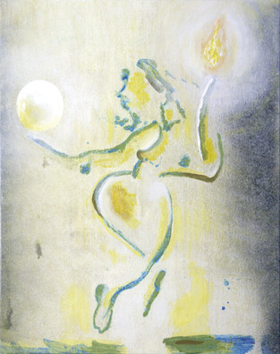 Dame med krystall kule og ild - Lady with crystal ball and fire