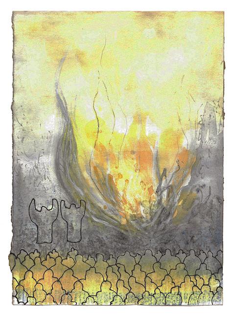 Deretter gikk Moses og Aron inn i telthelligdommen. Da de kom ut igjen, velsignet de folket, og Herrens herlighet viste seg for hele folket. Det fór ut ild fra Herren og fortærte det som var på alteret, både brennofferet og fettet. Da folket så det, ropte de høyt av glede og kastet seg ned med ansiktet mot jorden. - Tredje Mosebok Kapittel 9