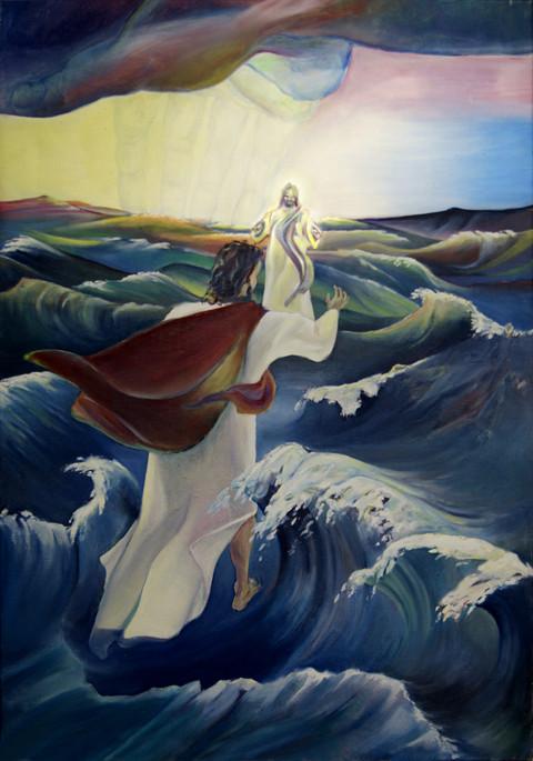 «Kom!» sa Jesus. Peter steg ut av båten og gikk på vannet bort til Jesus. Men da han så hvor hardt det blåste, ble han redd. Han begynte å synke, og ropte: «Herre, berg meg!» - Evangeliet etter Matteus Kapittel 14
