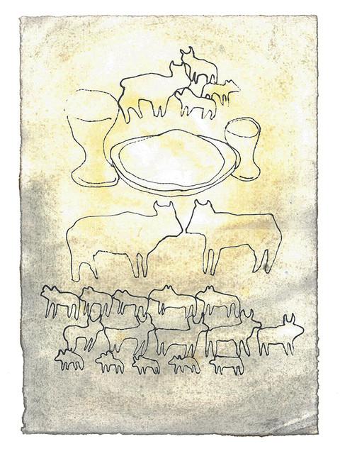 Hans offer var et sølvfat som veide 130 sjekel, en sølvskål på 70 sjekel etter vekten i helligdommen, begge fulle av hvetemel blandet med olje til grødeoffer, en gullskål på 10 sjekel, full av røkelse, en ung okse fra flokken, en vær og et årsgammelt værlam til brennoffer, en geitebukk til syndoffer og til fredsoffer to okser, fem værer, fem bukker og fem årsgamle værlam. - Fjerde Mosebok Kapittel 7