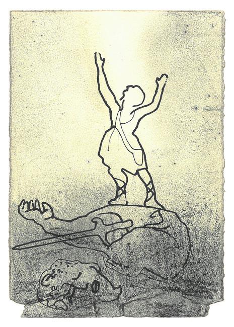 Da filisteren begynte å bevege seg mot David igjen, sprang David raskt fram foran hæren for å møte ham. Han stakk hånden ned i vesken og tok opp en stein. Den slynget han ut så den traff filisteren i pannen. Steinen gikk dypt inn i pannen hans, og han stupte med ansiktet mot jorden. Slik vant David over filisteren med slynge og stein. Han felte filisteren og slo ham i hjel, enda han ikke hadde noe sverd i hånden. David sprang bort til filisteren, tok sverdet hans og dro det ut av sliren og drepte ham. Så hogg han hodet av ham. - Første Samuelsbok Kapittel 17