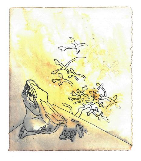 Da viste Herrens engel seg for ham i en flammende ild som slo opp fra en tornebusk. Han så, og se! – busken sto i flammer, men den ble ikke fortært av ilden. Og Moses sa: «Jeg vil gå bort og se dette mektige synet. Hvorfor brenner ikke tornebusken opp?» Men da Herren så at han kom bort for å se, ropte Gud til ham fra tornebusken: «Moses, Moses!» Han svarte: «Her er jeg.» Og Gud sa: «Kom ikke nærmere! Ta skoene av føttene! For stedet du står på, er hellig grunn.» Så sa han: «Jeg er din fars Gud, Abrahams Gud, Isaks Gud og Jakobs Gud.» Da skjulte Moses ansiktet, for han var redd for å se Gud. - Andre Mosebok Kapittel 3
