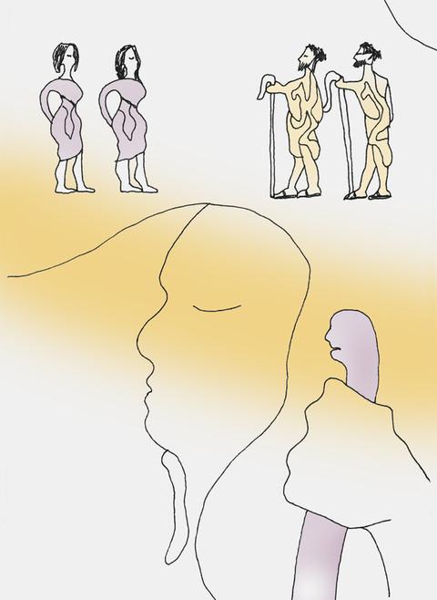 Så døde Elimelek, Noomis mann, og hun satt igjen med de to sønnene sine. De tok seg moabittiske koner. Den ene het Orpa, den andre het Rut. - Rut Kapittel 1