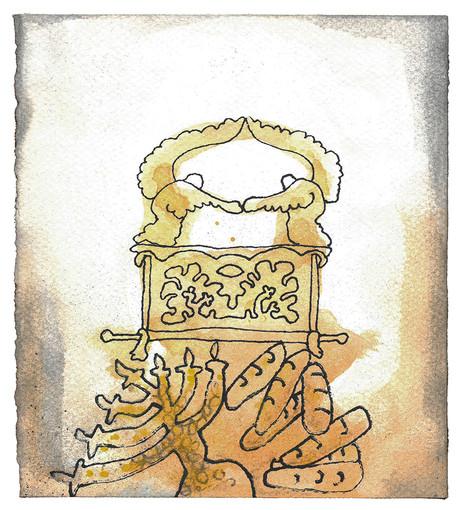 Si til israelittene at de skal komme med en offergave til meg. Dere skal ta imot gaven fra hver den som gir av et villig hjerte. ... Dere skal lage en kiste av akasietre. .... Kjerubene skal løfte vingene og bre dem ut slik at de dekker soningsstedet. Kjerubene skal være vendt mot hverandre, med ansiktet mot soningsstedet. Så skal du legge soningsstedet som lokk på kisten. ... Se til at det alltid ligger skuebrød på bordet for mitt ansikt! Du skal lage en lysestake av rent gull. Lysestaken med fot og stamme og skålene med knopper og blomster skal hamres ut av ett stykke.  - Andre Mosebok Kapittel 25