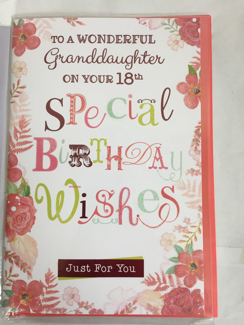 TO A WONDERFUL GRANDDAUGHTER ON YOUR 18TH BIRTHDAY CARD FLOWERS WORDS DESIGN