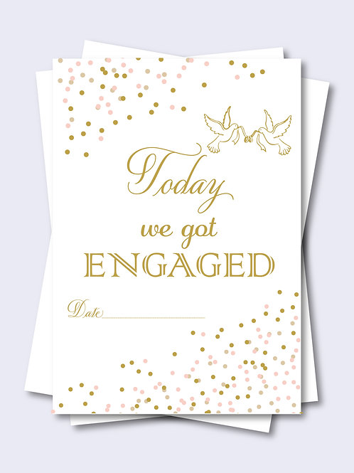 Gold Love Birds Confetti Wedding Milestone Card