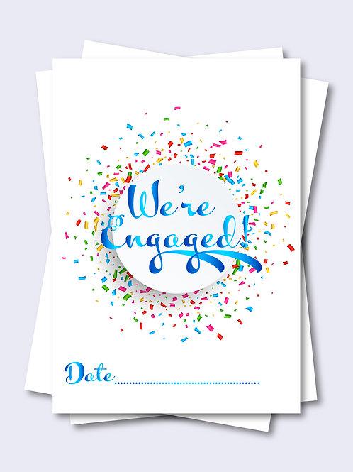 Blue Celebration Confetti Wedding Milestone Card