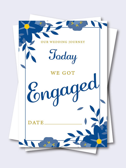 Elegant Blue Floral Wedding Milestone Card