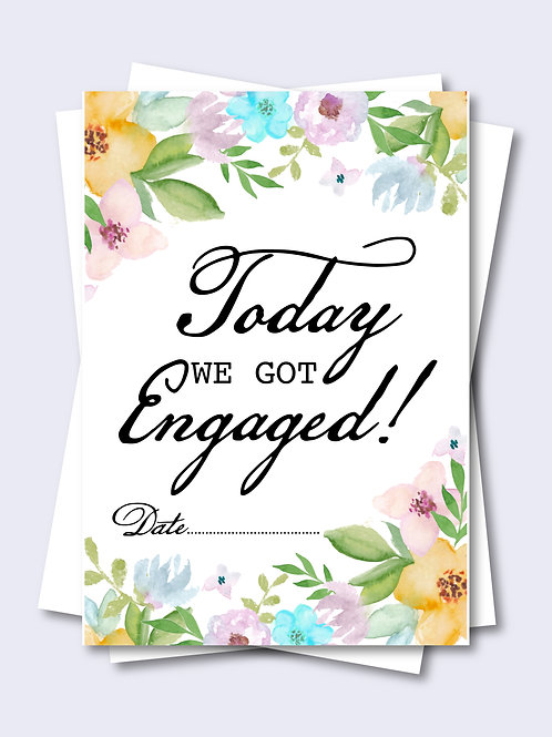 Watercolour Floral Wedding Milestone Card