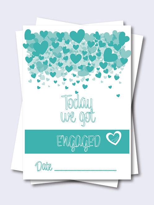 Green Love Heart Wedding Milestone Card