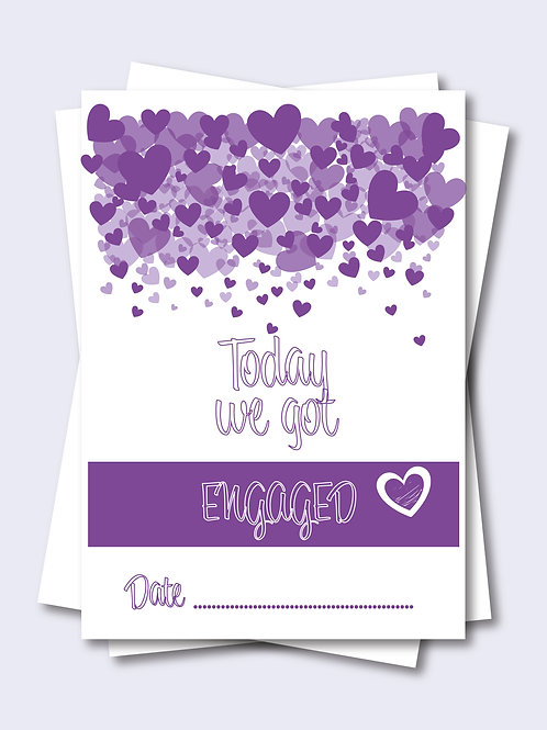 Purple Love Heart Wedding Milestone Card