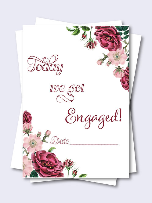 Romantic Rose Floral Wedding Milestone Card