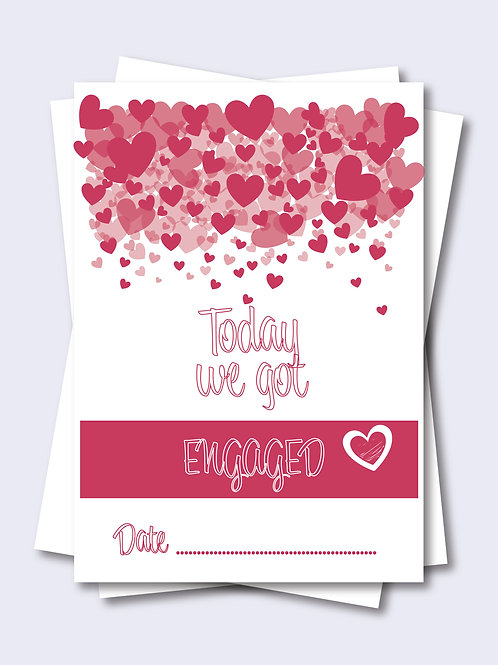 Pink Love Heart Wedding Milestone Card