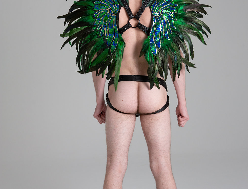 X LEATHER HARNESS GREEN WINGS
