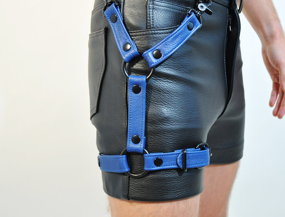 LEG BLUE LEATHER HARNESS