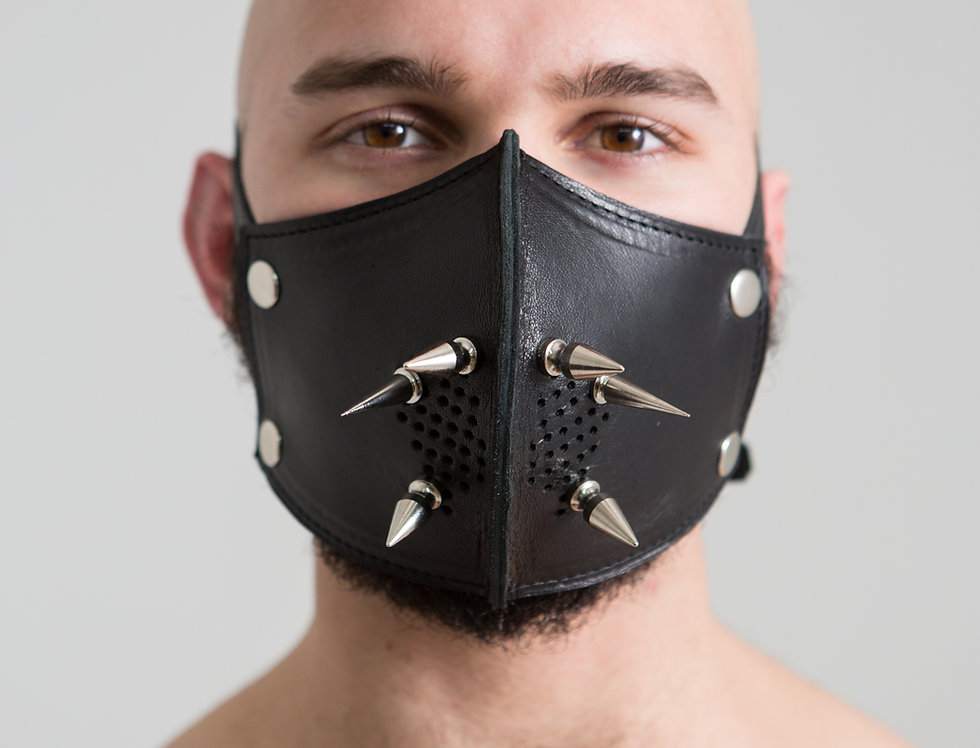 LEATHER PUNK MASK with spike