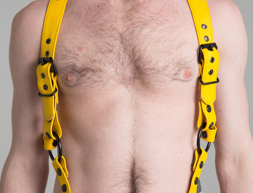 SUSPENDERS YELLOW LEATHER with black or silver snaps and ring