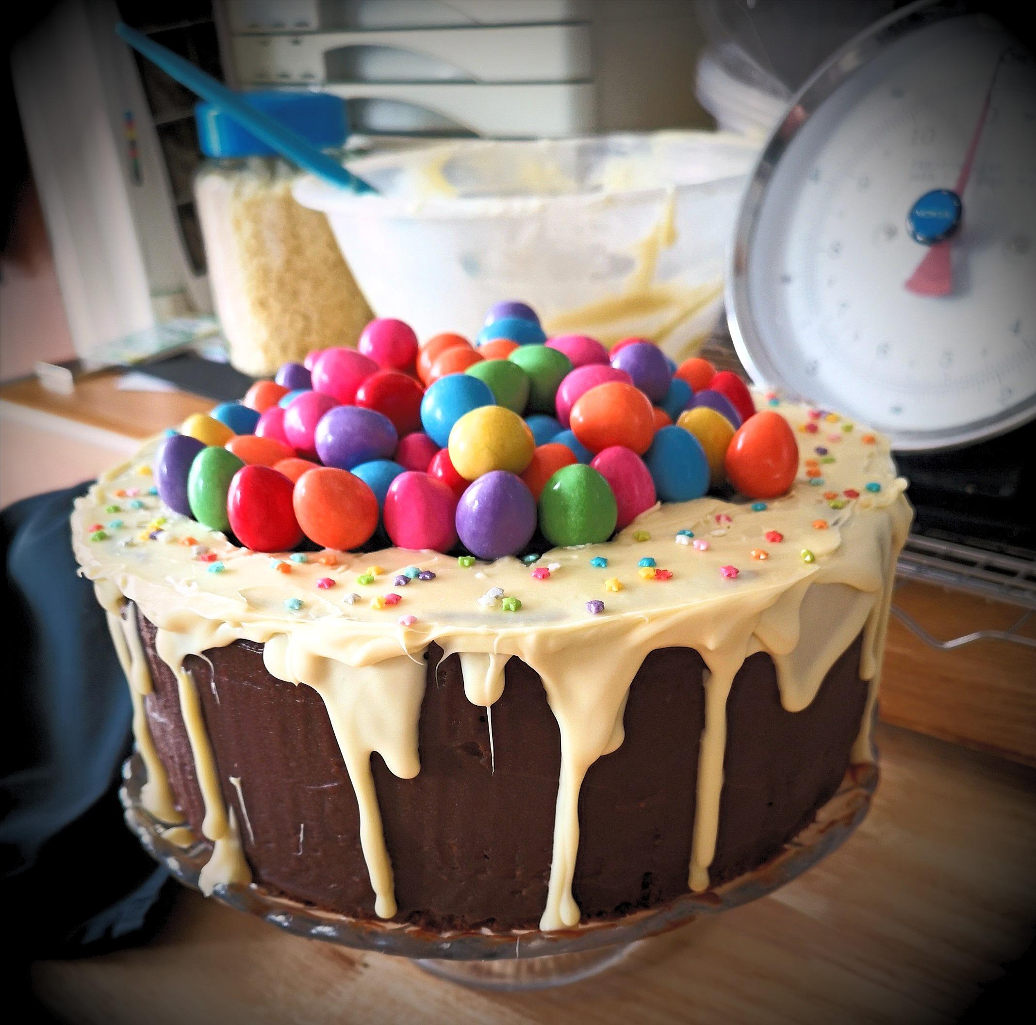 Smartie Egg Topped Drip Cake